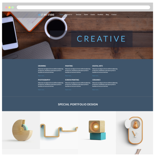 LT Art Studio – Premium One page Art Gallery WordPress theme 2