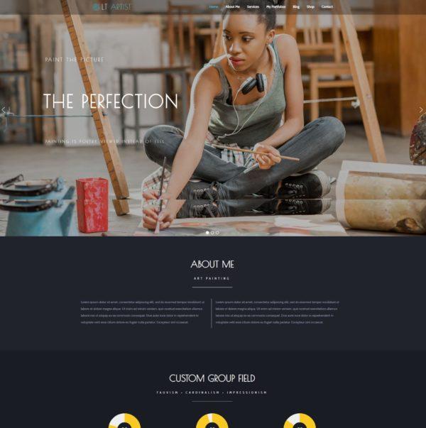 LT Artist – Premium One page artist website template 2