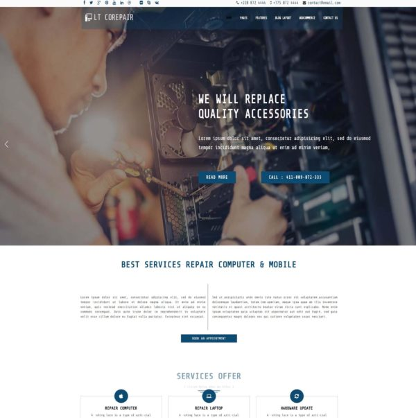 LT CoRepair – Premium One page Computer Repair WordPress Theme 2