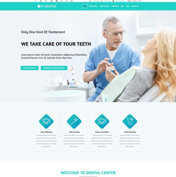 LT Dentist – Premium One page Dentist wordpress theme 2