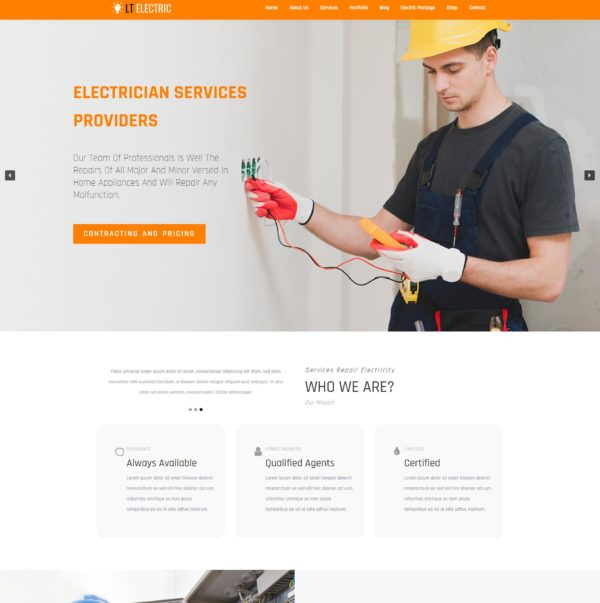LT Electric – Premium One page WordPress Electrical Theme 2