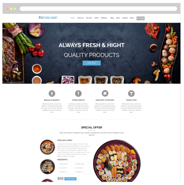 LT Food Court – Premium One page Catering WordPress theme 2