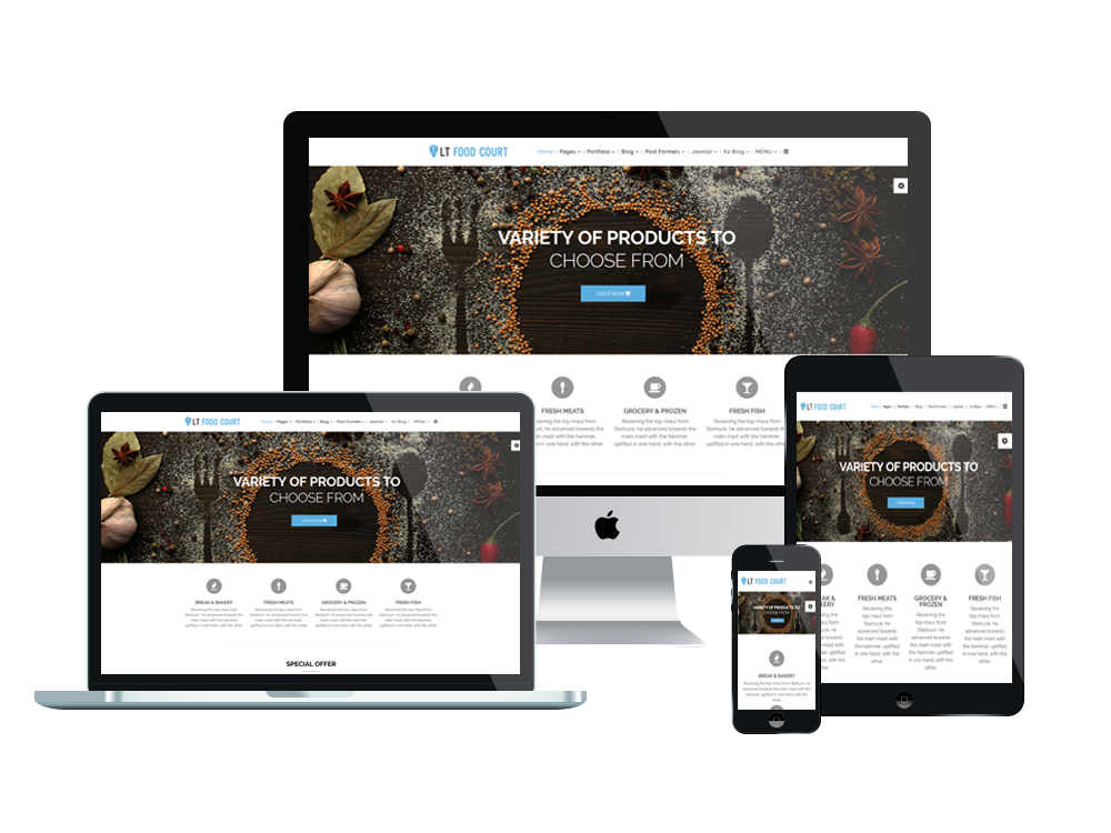 LT Food Court – Premium One page Catering WordPress theme 3